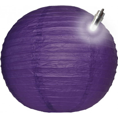 Papierový lampión guľatý visiaci LED 30cm fialový