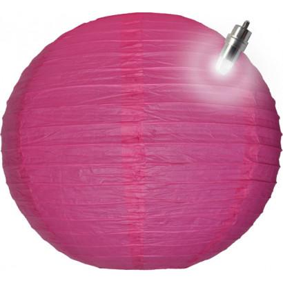 Papierový lampión guľatý visiaci LED 20cm fuchsia