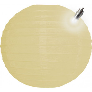 Papierový lampión guľatý visiaci LED 20cm béžový