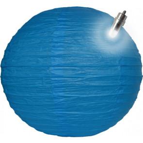 Papierový lampión guľatý visiaci LED 40cm modrý