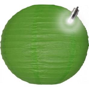 Papierový lampión guľatý visiaci LED 20cm zelený
