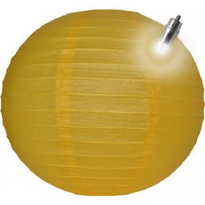 Papierový lampión guľatý visiaci LED 50cm žltý
