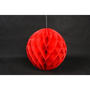 Dekoratívna Papierová guľa Honeycomb 30cm červená