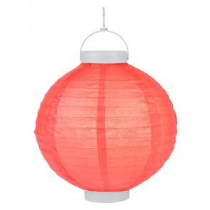 Plastový lampión guľatý visiaci LED 20cm – červený