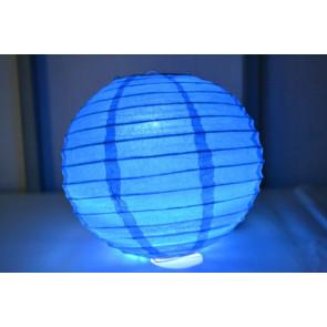Papierový lampión guľatý visiaci LED 50cm modrý