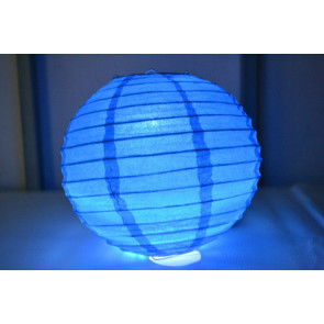 Papierový lampión guľatý visiaci LED 20cm modrý