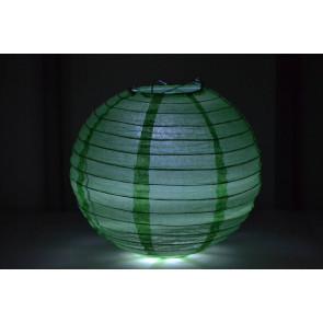 Papierový lampión guľatý visiaci LED 40cm zelený