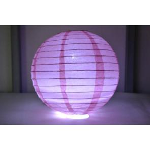 Papierový lampión guľatý visiaci LED 20cm ružový