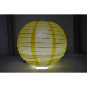 Papierový lampión guľatý visiaci LED 40cm žltý