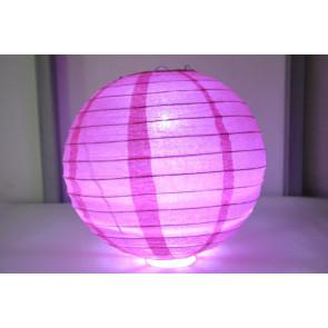 Papierový lampión guľatý visiaci LED 30cm fuchsia