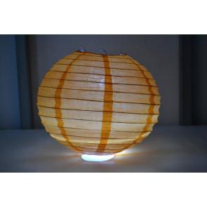Papierový lampión guľatý visiaci LED 30cm oranžový