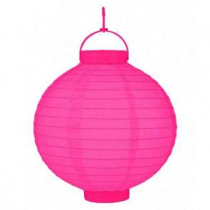 Plastový lampión guľatý visiaci LED 20cm – ružový