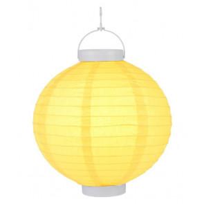 Plastový lampión guľatý visiaci LED 20cm – žltý