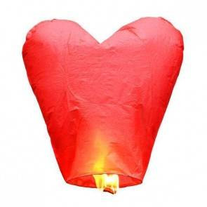 Červený Lietajúci lampión SRDCE ECO