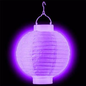 1ks Dekoratívny LED svietiaci lampión 30cm – fialový + AAA batérie zadarmo